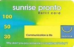 Prepaid, Mobil Recharge: Sunrise Pronto 50 - Schweiz