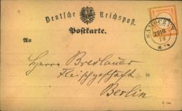 1872, Postkarte 1/2 Groschen Grßer Brustschild -SAROCZIN - Allemagne