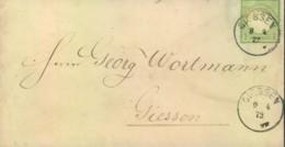 1872,1 Kreuzer Kleiner Schild Auf Ortsbrief GIESSEN  9.4.72 - Deutschland