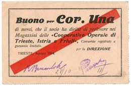 BUONO 1 CORONA COOPERATIVE OPERAIE  DI TRIESTE ISTRIA FRIULI /08/1914 BB/SPL - [ 1] …-1946 : Kingdom