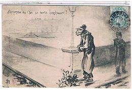PARIS   Petits Metiers Marchand De Gui Dessin 1906  1r54 - Petits Métiers à Paris