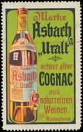 Rüdesheim/Rhein: Marke Asbach Uralt Echter Alter Cognac Aus Naturreinen Weinen Reklamemarke - Cinderellas
