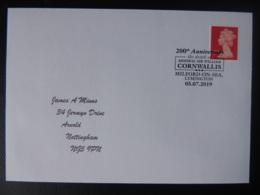 Great Britain Postmark 200th Anniversary Admiral Sir John Cornwallis Milford-on-Sea MILITARIA NAVAL Typed Address JandRS - Marcofilie