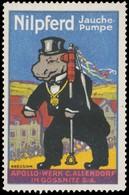 Gössnitz: Nilpferd Jauchepumpe Reklamemarke - Vignetten (Erinnophilie)