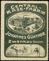 Zwenkau: Central Käse-Fabrik Reklamemarke - Vignetten (Erinnophilie)