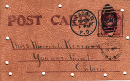 Real Leather - Cuir Véritable - Written In 1900-1905 - Old Chicago Postmark And Stamp - Size : 5 X 3 - 2 Scans - Other