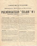 """Ancienne Notice - Pulverisateur """"éclair"""" N°1 - Vermorel - RAN - Vieux Papiers"""
