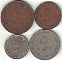 Qatar & Dubai Collection Of 4 Coins 1966 All Listed & Different - Qatar