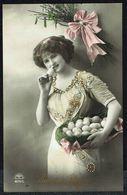 """FEMME - CP - Jeune Femme Avec Oeufs De Pâques - """" Joyeuses Pâques """" - Circulé - Circulated - Gelaufen - 1913. - Femmes"""