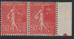 YT 199 **  50c Rouge Semeuse, Paire Avec Bdf, Un Ex Sans «POSTES», TB - 1903-60 Sower - Ligned