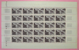 RARE FEUILLE COMPLETE DE LA POSTE AERIENNE PA N° 26 NEUF ** 300F VIOLET Avec COIN DATÉ De 1949 - Full Sheets