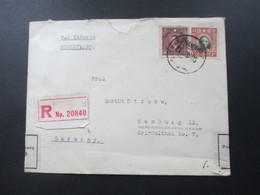 VR China 1939 Einschreiben Via Siberia Nach Hamburg. Gestempelter R- Zettel  Shanghai 24 No 20840 Zollamtlich Geöffnet - China