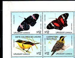 URUGUAY, 2009,BIRDS, BUTTERFLIES,  4v. MNH** - Birds