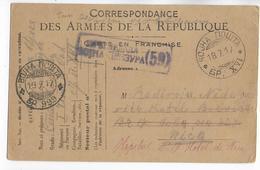 1917 - CARTE FM FRANCAISE UTILISEE Par Un SOLDAT SERBE Du SP 999  ! => HOPITAL N°19 De NICE - Marcofilia (sobres)