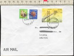 Japan 1988  MiNr. 1780, 1781 ; Seto- Ohashi- Brücke Auf Luftpostbrief/ Letter In Die DDR - Brücken