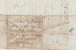 """FRANCE : MP . """" 16 SAINTES """" POUR UN OFFICIER DE L'ARMEE IMPERIALE D'ESPAGNE . 1809 . - Marques D'armée (avant 1900)"""
