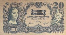 Austria 20 Schilling, P-116 (29.5.1945) - AUNC+ - Austria