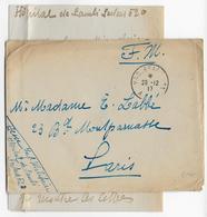 1917 - ARMEE D'ORIENT - CACHET VAGUEMESTRE D'ETAPES AAO 11 - ENV. FM De L' HOPITAL Du SP 520 à MONASTIR (MACEDOINE) - Marcophilie (Lettres)