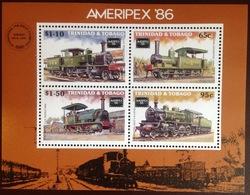 Trinidad & Tobago 1986 Ameripex Trains Minisheet MNH - Trinidad & Tobago (1962-...)