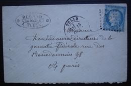 Tulle (Corrèze) Durand Huissier 1875 Lettre Pour Paris - Marcophilie (Lettres)