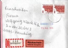 ! 1 Einschreiben Rückschein 1996 Mit R-Zettel  Aus Hennef, 53773 - BRD
