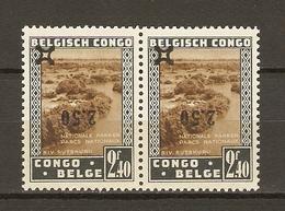 Congo Belge 1941 - Parcs Nationaux - Surcharge Renversée - Paire Cob 227 CU MNH - Curiosité - Congo Belga