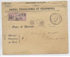 1917 - ARMEE D'ORIENT - RARE ENVELOPPE RECOMMANDEE De SERVICE Du SP 507 (ARMEE RUSSE) - Guerra De 1914-18