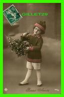 NOUVEL AN - BONNE ANNÉE - ENFANT AVEC DU MUGUETS - CIRCULÉE EN 1915 - ENDOS 3/4 - - Nouvel An