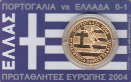 GREECE - Card With Medal EURO 2004, Portugal Vs Greece 0-1, Thanks Otto Rehagel, Tirage 1000, 07/04 - Unclassified