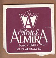 AC - HOTEL ALMIRA BURSA, TURKEY VINTAGELUGGAGE LABEL - Andere Verzamelingen