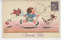 """ENFANTS - DOG - Jolie Carte Fantaisie Petit Garçon Avec Bouquet De Fleurs Et Chien """"Bonne Fête"""" (signée) - Chiens"""