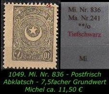 EARLY OTTOMAN SPECIALIZED FOR SPECIALIST, SEE...Mi. Nr. 836 In Tiefschwarz  Mit Abklatsch - 1921-... Republic