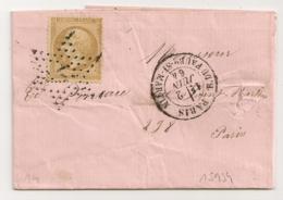 Etoile De PARIS N° 14, R. DU FAUBg-ST-MARTIN - Marcophilie (Lettres)