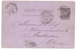 PARIS-11 AV DE L'OPERA Sur Entier SAGE Pour Amsterdam HOLLANDE. - 1877-1920: Semi Modern Period