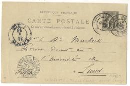 PARIS-28 R. DE POISSY Sur ENTIER SAGE Pour LUND, Suède. SASSENITZ TRELLEBORG, Départ Ferry En Transit. - Postmark Collection (Covers)