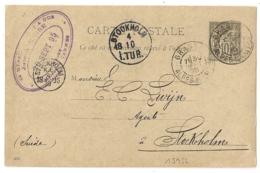 Destination STOCKHOLM, GRASSE Alpes Maritimes Sur ENTIER SAGE Pour La  Suède. - Postmark Collection (Covers)