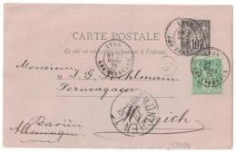 ENTIER SAGE 10C + 5C LYON LES TEREAUX Pour NUNICH, Bavière, Allemagne. - Postmark Collection (Covers)