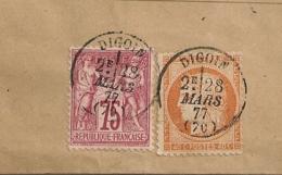 Origine LA MOTTE ST JEAN, Mixte SAGE / Cérès, Chargé DIGOIN Saone Et Loire Pour MOULINS. - Marcophilie (Lettres)