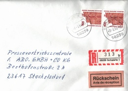 ! 2 Einschreiben 1994 Mit R-Zettel  Aus Schwerte, 58239 - R- & V- Vignetten