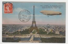 MF219 - PARIS -Dirigeable Militaire Venant Du Parc De Chalais Meudon, Devant Tour Eiffel -1912 -Tampon Sommet De La Tour - Eiffelturm