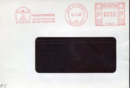 46139 Switzerland, Red Meter Freistempel Ema, 1987 Geneve, Manpower, Dimension Of Man Leonardo Da Vinci - Other