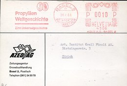 46140 Switzerland, Red Meter Freistempel Ema, 1961 Basel, Propylaen, Showing A Owl, Hibou, Eule - Owls