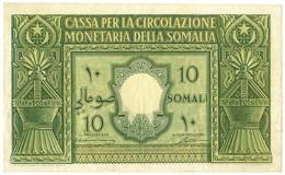10 SOMALI CASSA PER LA CIRCOLAZIONE MONETARIA SOMALIA AFIS 1950 BB+ - [ 6] Colonias