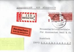 ! 1 Einschreiben Rückschein 1996 Mit R-Zettel  Aus Soest, 59494 - R- & V- Vignetten