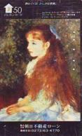 Télécarte JAPON * PEINTURE FRANCE (2105) AUGUSTE RENOIR * FEMME *  MUSEUM * ART * TK Gemälde  Phonecard Japan * KUNST - Malerei