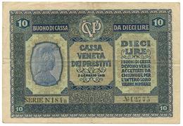 10 LIRE CASSA VENETA DEI PRESTITI BUONO DI CASSA 02/01/1918 BB/BB+ - [ 3] Military Issues