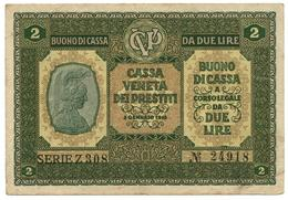 2 LIRE CASSA VENETA DEI PRESTITI BUONO DI CASSA 02/01/1918 BB+ - [ 3] Military Issues