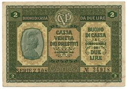 2 LIRE CASSA VENETA DEI PRESTITI BUONO DI CASSA 02/01/1918 BB+ - [ 3] Militärausgaben
