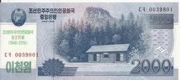 COREE DU NORD 2000 WON 2018 UNC P CS22 ( 70e Anniversaire) - Corée Du Nord