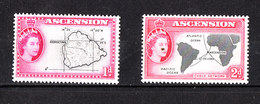 Ascension - 1956. Carte Geografiche Dell' Isola .Geographical Maps Of The Island Of The Series. MNH, Fresh - Geografia